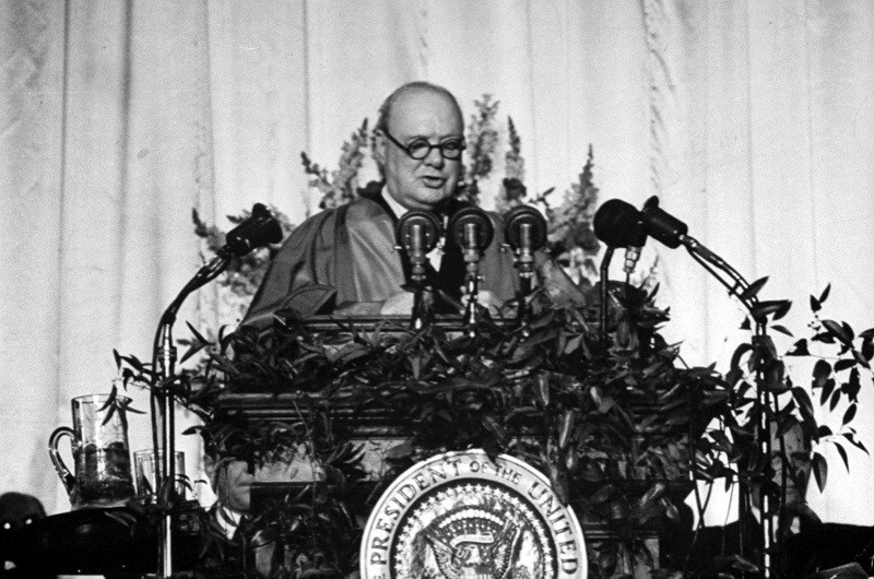 British prime minister Winston Churchill delivering a speech at Westminster College that addressed the Communist threat in 1946, in which he uttered the now-famous phrase 'Iron Curtain'. (Photo by George Skadding/The LIFE Picture Collection/Getty Images)