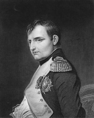 """Napoleono Bonaparte portretas 1815 m. Birželio 1 d. Paryžiuje, Prancūzijoje.  Samuelio Freemano graviūra iš Paulo Delaroche paveikslo.  (Hultono archyvo / """"Getty Images"""" nuotr.)"""
