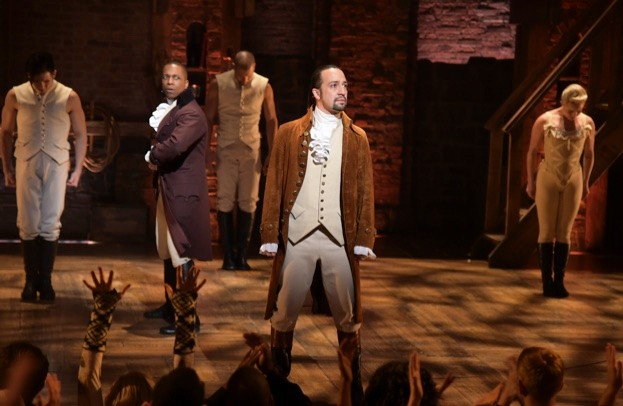 """performs on stage during """"Hamilton"""" GRAMMY performance for The 58th GRAMMY Awards at Richard Rodgers Theater on February 15, 2016 in Los Angeles City."""