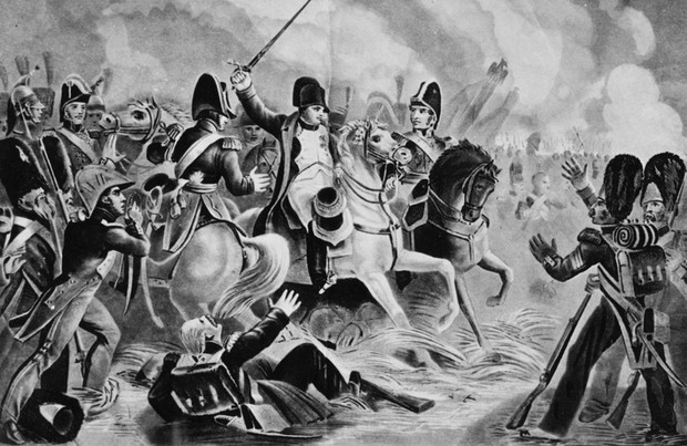 """Napoleonas Bonaparte'as bando vadovauti paskutiniam savo imperatoriškosios gvardijos užpuolimui Vaterlo mūšyje.  (Hultono archyvo / """"Getty Images"""" nuotr.)"""