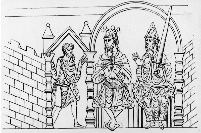 An illustration from an 11th-century manuscript depicting a king and his minister doing justice, c1050. (Photo by Hulton Archive/Getty Images)