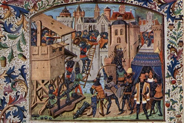 c1400, English troops use siege towers to capture a French town during the Hundred Years' War between England and France. Original Artwork: An illumination from Froissart's Chronicles. (Photo by Rischgitz/Getty Images)