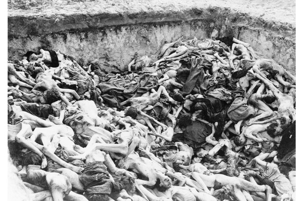(Original Caption) During the advance of the 2nd Army, the huge concentration camp at Belsen, was relieved. Some 60,000 civilians, mostly suffering from typhus, typhoid, and dysentry, are dying in their hundreds daily, despite the frantic efforts being made by medical services rushed to the camp. The camp was littered with dead and dying and on closer investigation it was discovered that the huts capable of housing about 30 people in many cases were holding as many as 500, it was impossible to estimate the number of dead among them, the other were too weak to remove the bodies so they just had to remain. Photo shows views of one of the communal graves in the camp.