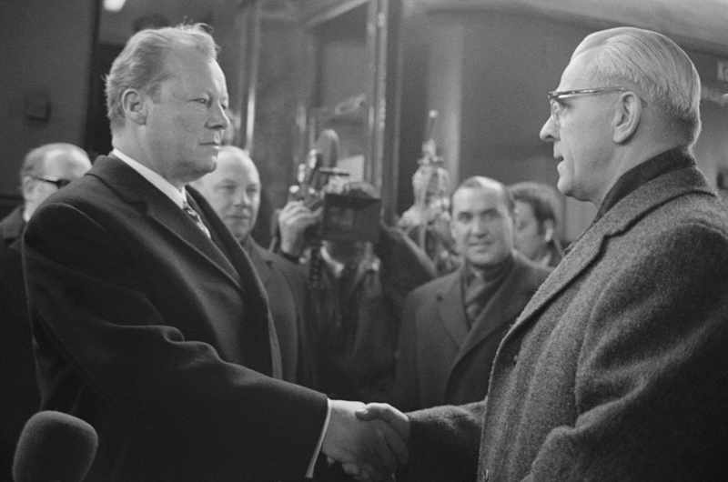 East German leader Willi Stoph greets West German chancellor Willy Brandt at Erfurt. (Getty images)