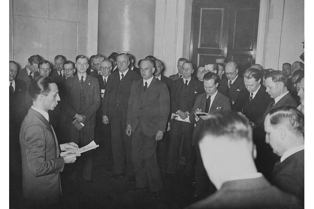 Joseph Goebbels, Nazi minister of propaganda, addresses members of the foreign press in Berlin in 1939. (Bettmann/Getty Images)