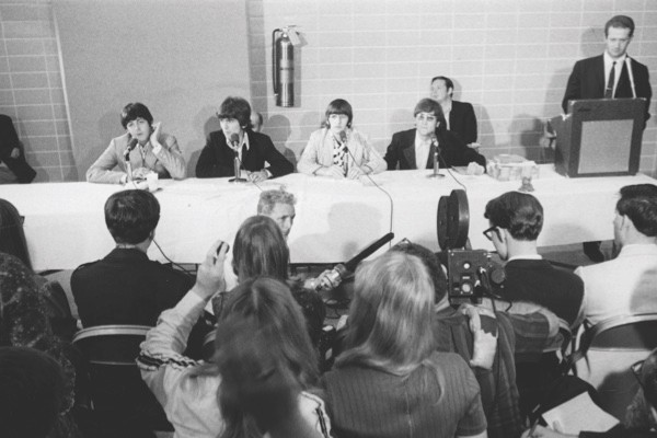 """Building bridges in the US: John Lennon's remark that """"we're more popular than Jesus"""" enraged Christians in the US. The band, seen here at a press conference in Memphis, were forced to apologise and even considered cutting the tour short. (Getty Images)"""