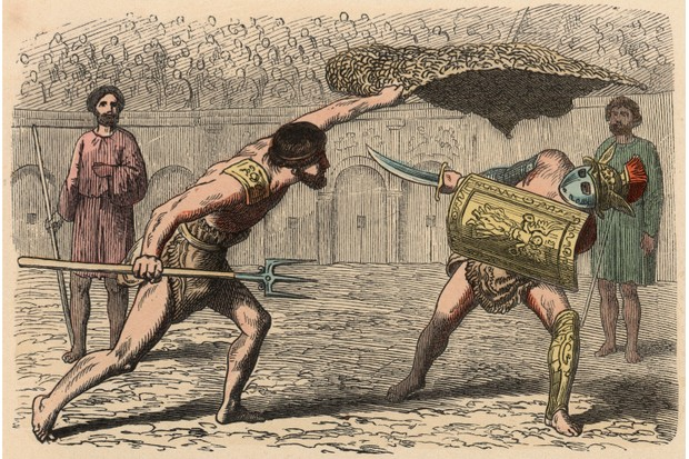 A 19th-century engraving of a Roman gladiator fight. (Corbis via Getty Images)