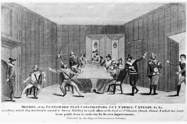 The conspirators in the gunpowder plot of 1605 meet in a house in London. Amongst them are Guy Fawkes (1570 - 1606) and ringleader Robert Catesby (1573 - 1605). (Hulton Archive/Getty Images)