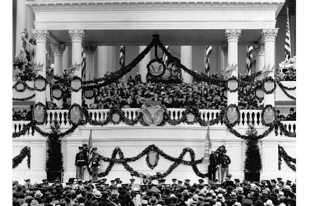 President Franklin D. Roosevelt delivers his first inaugural address at the Capitol in 1933. (George Rinhart/Corbis via Getty Images)