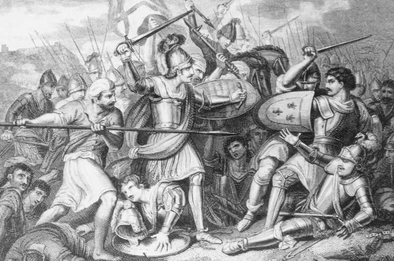 The Battle of Agincourt, fought on Saint Crispin's Day in northern France during the Hundred Years' War between England and France, 25th October 1415. Drawn and engraved by J. Smith. (Photo by Hulton Archive/Getty Images)
