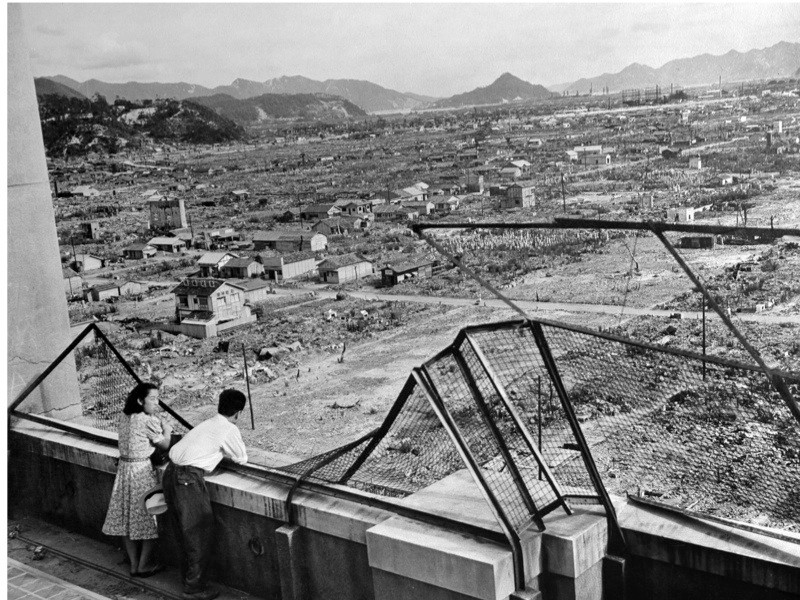 HIROSHIMA, JAPAN:  END OF THE WAR/HIROSHIMA PHOTO PACKAGE  (FILES) This file photo dated 1948 shows the devastated city of Hiroshima some three years after the US dropped an atomic bomb on the city, 06 August 1945, at the end of World War II.  Around 140,000 people, or more than half of Hiroshima's population at the time, died in the first atomic bombing 06 August 1945, with another 70,000 people perishing in the bomb dropped over Nagasaki 09 August 1945.  Following the bombings, Japan surrendered 02 September 1945 to Allied forces, officially ending World War II, bringing down the curtain on the costliest conflict in history. The 60th anniversary of the bombing of Hiroshima will take place with ceremonies in the Japanese city on 06 August 2005.    AFP PHOTO/FILES  (Photo credit should read AFP/AFP/Getty Images)