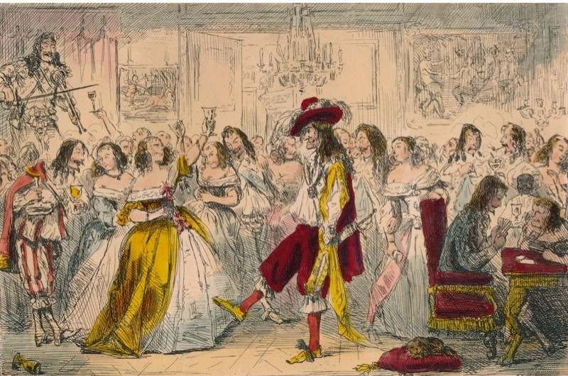 Evening Party - Time of Charles II, 1850. A satirical illustration of King Charles II (1630?1685). King Charles II (163-?1685) was know as the 'Merry Monarch'. He had a great fondness for women and had many mistresses. From The Comic History of England by Gilbert Abbott A. Beckett, illustrated by John Leech [Bradbury, Agnew & Co., London, 1850.] (Photo by The Print Collector/Getty Images)