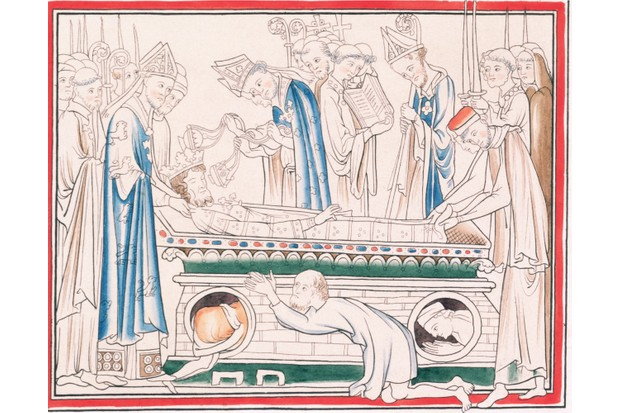 An illustration depicting the body of Edward the Confessor, king of England from 1042 to 1066. (Photo by Historical Picture Archive/Corbis via Getty Images)