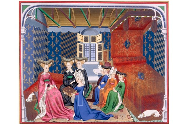 A medieval illustration depicting writer Christine de Pizan. (Getty Images)