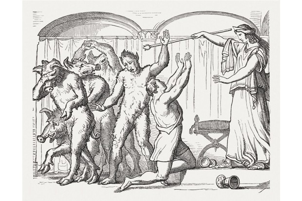 Circe, daughter of the sun god Helios in Greek mythology, transforms Odysseus's companions into pigs in this wood engraving from the 19th century. (Getty Images)