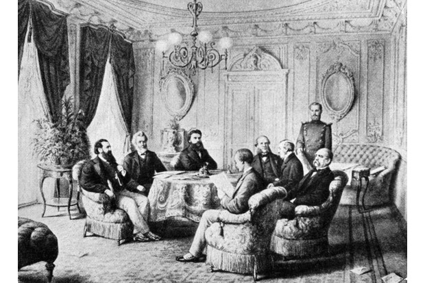 Signing the Treaty of Frankfurt that ended the Franco-Prussian War.