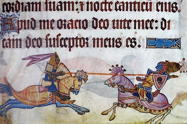 Richard I unhorsing Saladin during the Third Crusade