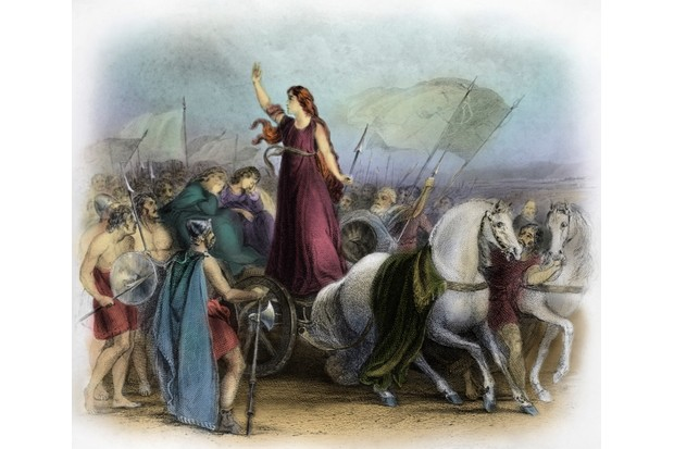 Boudica, also spelled Boudicca or Boadicea, was an ancient British queen who led a revolt against Roman rule. According to Roman historian Tacitus, Boudica's rebels massacred 70,000 Romans and pro-Roman Britons. (Culture Club/Getty Images)