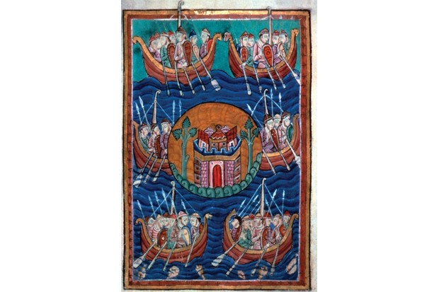 Viking ships arriving in Britain, ca 1130. Found in the collection of Pierpont Morgan Library. Artist : Abbo of Fleury (c. 945-1004). (Photo by Fine Art Images/Heritage Images/Getty Images)
