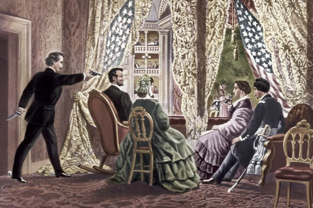 An illustration depicting the assassination of Abraham Lincoln, 1865. (Photo by Fine Art Images/Heritage Images/Getty Images)