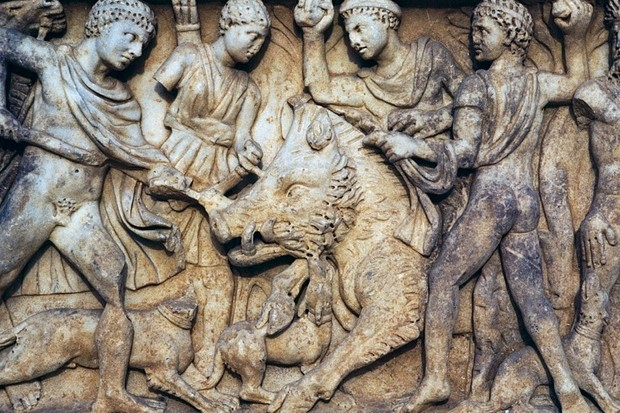 Sarcophagus with relief depicting the Calydonian boar hunt, Campanian amphitheatre, Italy, 1st-2nd century AD. (Photo by DeAgostini/Getty Images)
