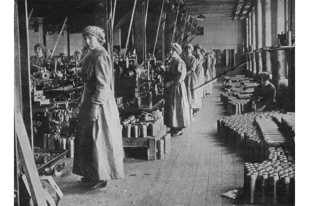 Workers in a munitions factory, 1915. From The Manchester Guardian History of the War Vol. III - 1915. (Photo by Print Collector/Getty Images)