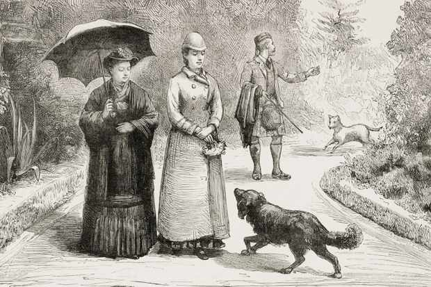 d620224b Queen Victoria with her daughter Princess Beatrice at Balmoral Castle. Dogs  seem to have been