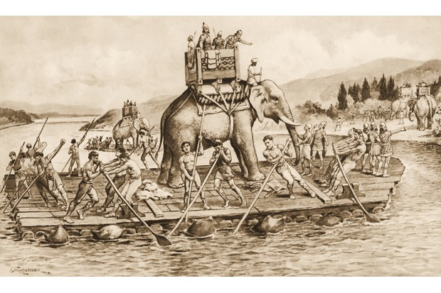 Illustration of Hannibal and the Carthaginian army