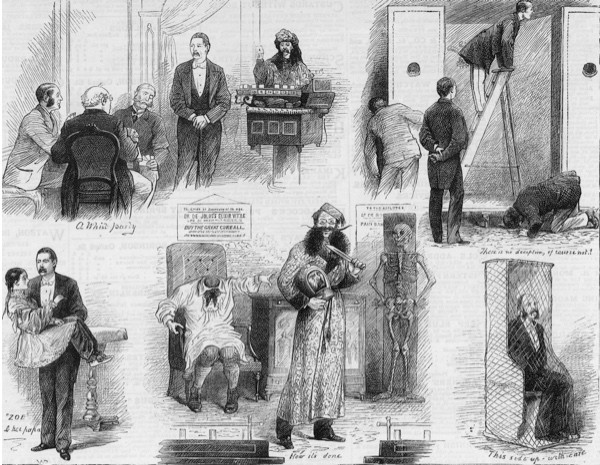 The stage show of English magician John Nevil Maskelyne, as depicted in a series of images from the Victorian period.