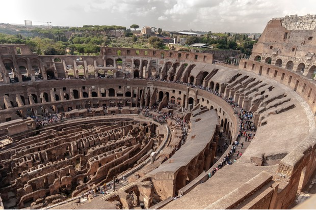An overview of the Colloseum, a giant amphitheatre build in Rome under the Flavian emperors. Thousands of hand-to-hand combats took place at the venue between gladiators, men and animals. (Corbis via Getty Images)