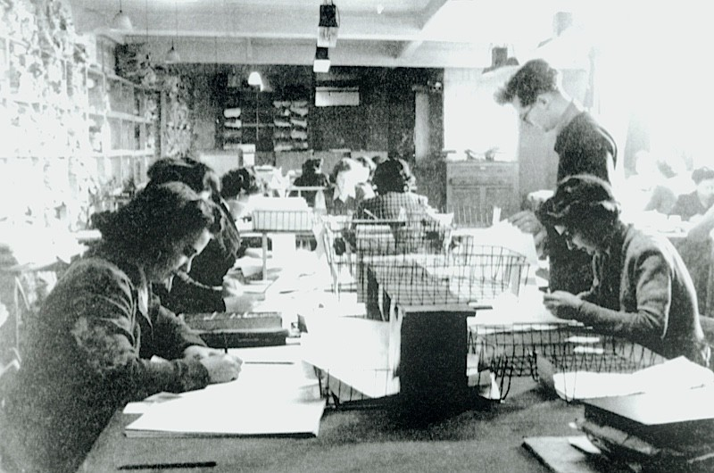 Codebreakers work in Hut 3 at Bletchley Park during the Second World War
