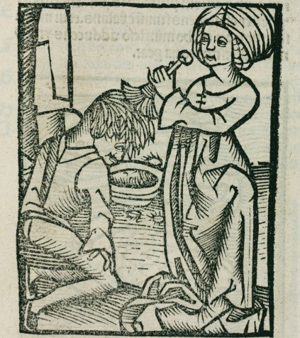 Woodcut showing a man being de-loused; three lice can be seen around the bowl. I