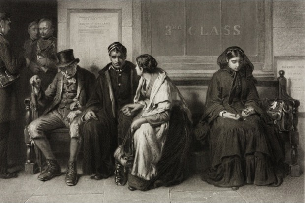 An 1873 engraving by C H Seers after F Holl, showing a group of passengers waiting on a station platform for a train