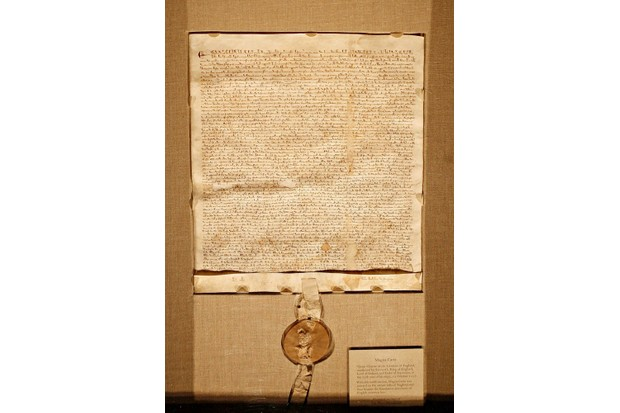 A 1297 copy of the Magna Carta, a document that gave certain rights to people living in England. (Photo by Timothy Fadek/Bloomberg via Getty Images)