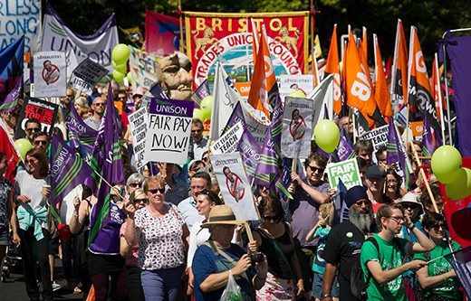 Public sector workers taking industrial action protest in the centre of Bristol on July 10, 2014. (Photo by Matt Cardy/Getty Images)