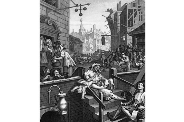 Gin Lane, a print issued in 1751 by painter and printmaker William Hogarth. It depicts the perceived evils of the consumption of gin. (Photo by Universal History Archive/Getty Images)