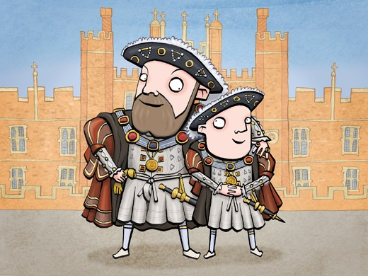 A depiction of Henry VIII and his only recognised illegitimate child, Henry Fitzroy. (Illustration by Glen McBeth for BBC History Magazine)