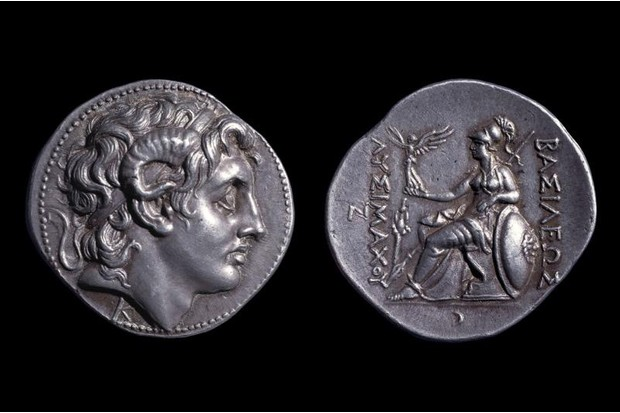 One side of the coin bears an image of the goddess Athena, c305-281 BC). (British Museum, London)