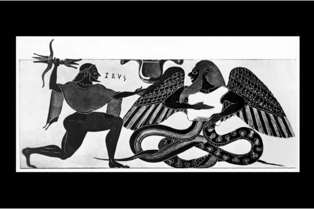 Composite mythological monsters like Typhon posed a challenge to Plato's theory of imitation. Although their constituent parts were usually recognisable - e.g. snake legs and bird wings - the overall composition did not simply imitate reality. (Staatliche Antikensammlungen, Munich)