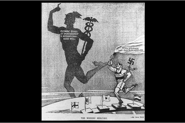 This cartoon contrasts the Berlin Olympics with the values represented by the ancient Mercury, seen here as an ambassador of international good will. Provided by the Historical Society of Pennsylvania.