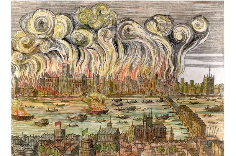 An illustration depicting the Great Fire of London. (Getty Images)