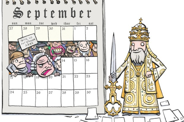 How did England react to the introduction of the Gregorian calendar in 1751? (Illustration for BBC History Magazine)