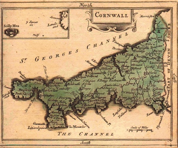A map of Cornwall from Francis Grose's The Antiquities of England and Wales (1783). Despite its sparse population, in the 18th century Cornwall had 44 MPs in parliament. (Photo by fromoldbooks.org)