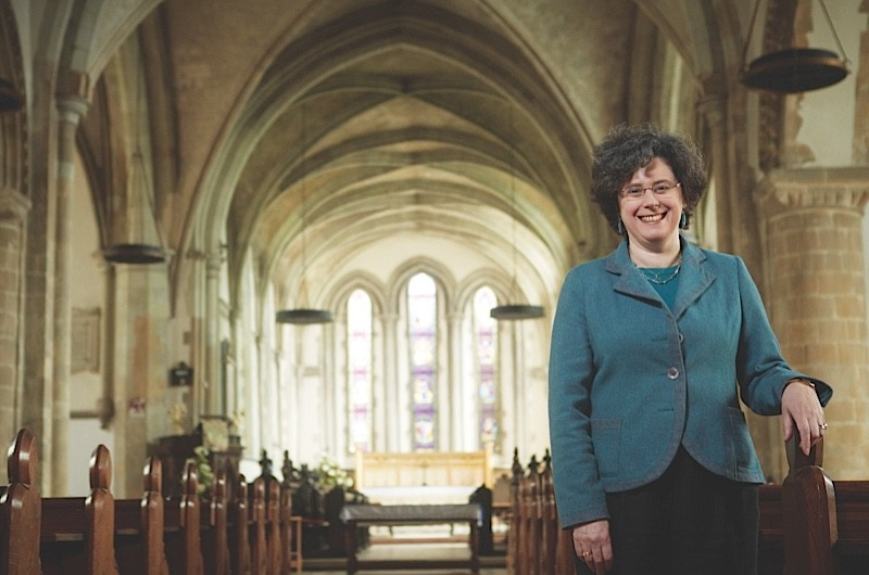 A photograph of historian Sarah Foot at St Mary the Virgin Church