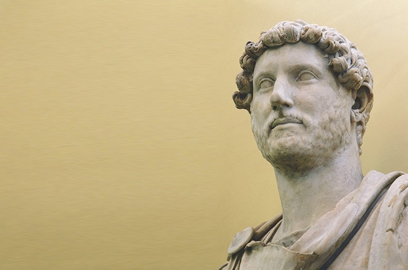 A marble bust of the Emperor Hadrian who ruled from AD 117 to 138, The bust was found in his villa near Tibur (Tivoli). Italy. Roman. (Photo by Werner Forman/Universal Images Group/Getty Images)