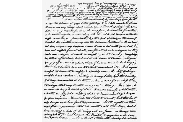 Letter from Jane Austen to Cassandra Austen Letter from Jane Austen to Cassandra Austen (her elder sister). Handwritten manuscript. JA: English novelist, 16 December 1775 – 18 July 1817. CA: Amateur English watercolourist, 9 January 1773 – 22 March 1845. (Photo by Culture Club/Getty Images)