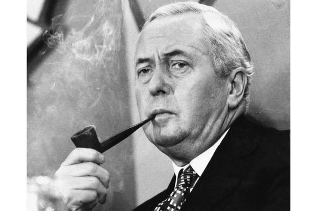 British prime minister Harold Wilson smoking his pipe