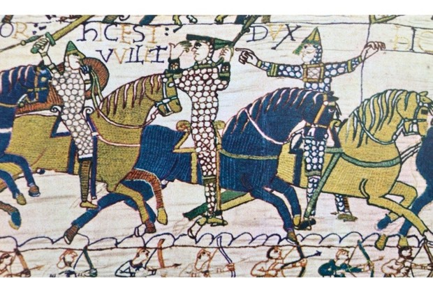 A detail from the Bayeux tapestry depicting the conquest of England by the Normans. (Universal History Archive/UIG via Getty images)