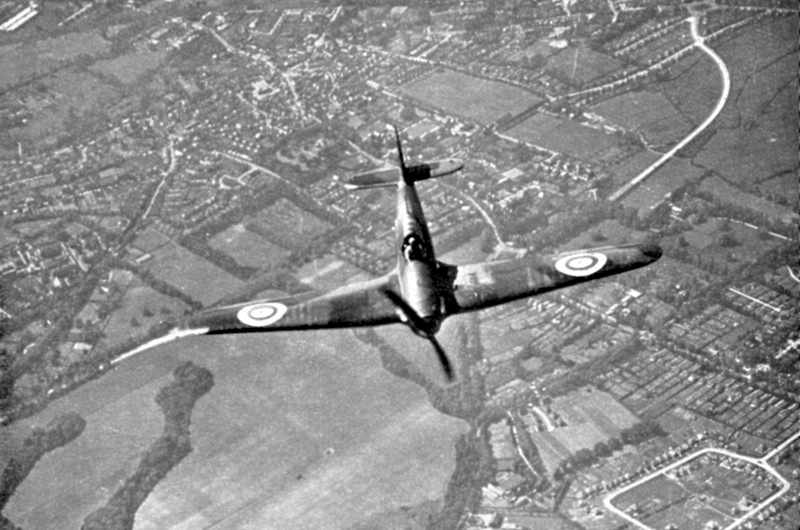 A Hawker Hurricane of Fighter Command on its way to intercept German bombers as they crossed the south coast of England during the Battle of Britain, 1940. (Photo by Ann Ronan Pictures/Print Collector/Getty Images)