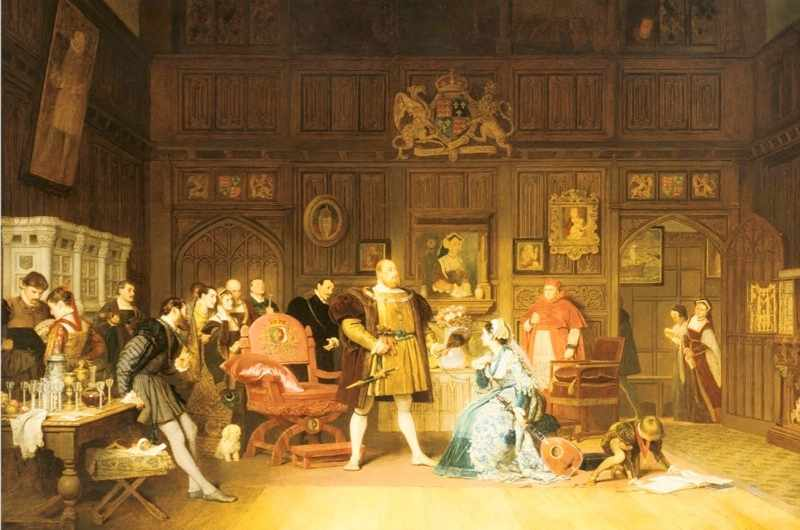 Henry VIII and Anne Boleyn, observed by Queen Catherine (of Aragon), who is stood in the doorway. Anne has been playing the lute for the king, watched by a gathering of courtiers. Cardinal Wolsey, right of centre, looks on. Painting by Marcus Stone, 1870. Private collection. (Photo by Universal History Archive/Getty Images)